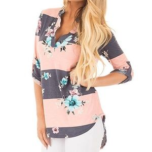 V Neck 3/4 Sleeve Floral Print Blouses Top T-Shirt